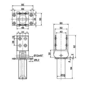 Bisagras de vaivén tipo 41 42 con bloqueo dimensiones