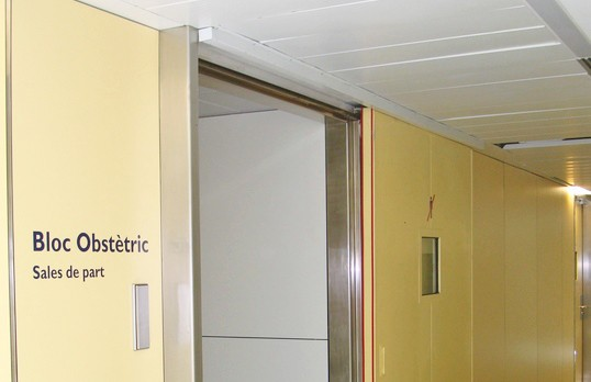 Sliding fire door operator at hospital
